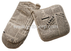 letter printed canvas microwave glove & coaster set