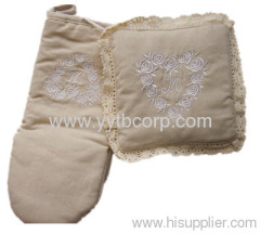 embroidery,embroideried microwave home gloves and coaster