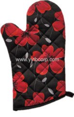 flower printing canvas chinese style microwave glove