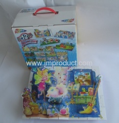 four 3D puzzle in handle box