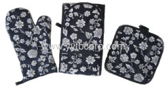 the most popular microwave oven glove double long gloves & coaster set with good quality