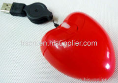 Retractable cable mini heart usb mouse