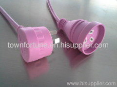Australia extension cords with piggyback plug in pink color