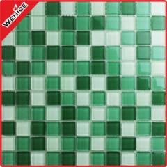 Green mixed white glass mosaic