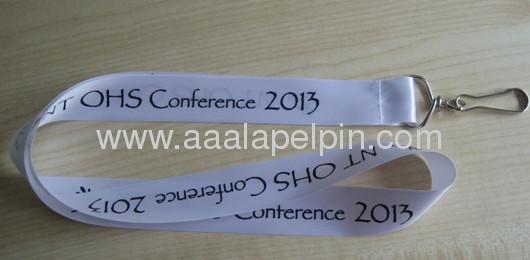 fashion white satin ribbon lanyard for promotion gift