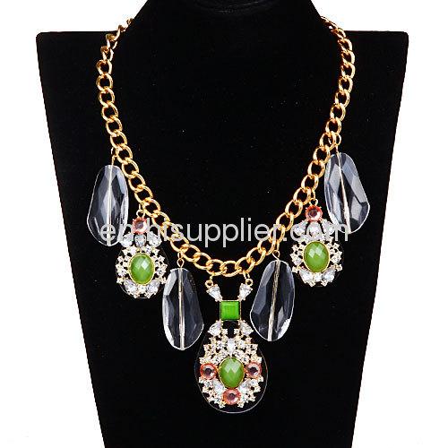 2013 Costume Jewelry Big Stone Necklace,Rhinestone Crystal Bib Collar