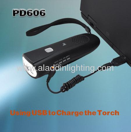 Dynamo FM radio Iphone charger 3 LED Radio Flashlight