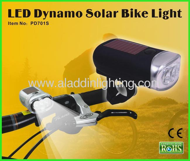 Dynamo solar powered 3 LED bike light