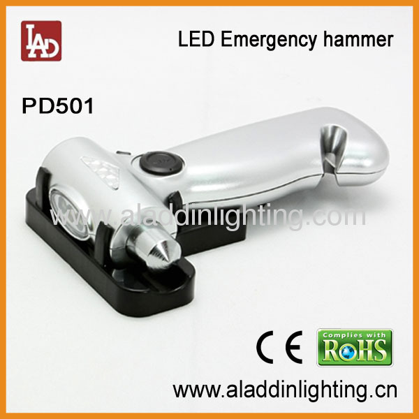 4in1 dynamo emergency auto safety hammer with 3 LED torch