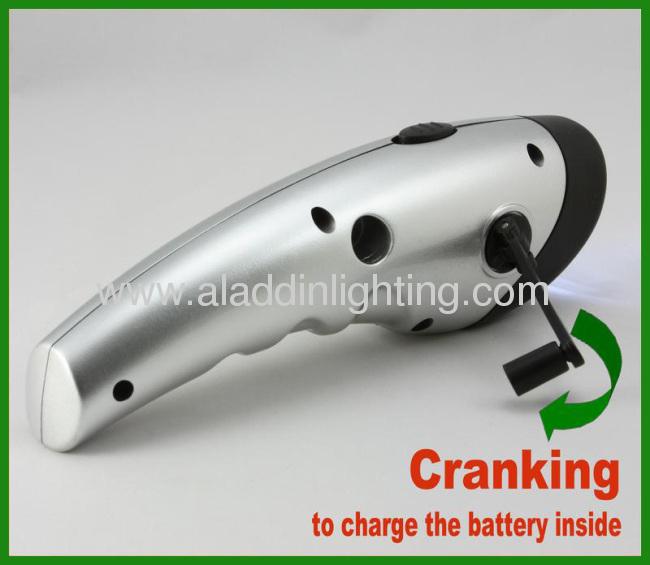 Smart Phone charger solar powered dynamo hand cranking flashlight