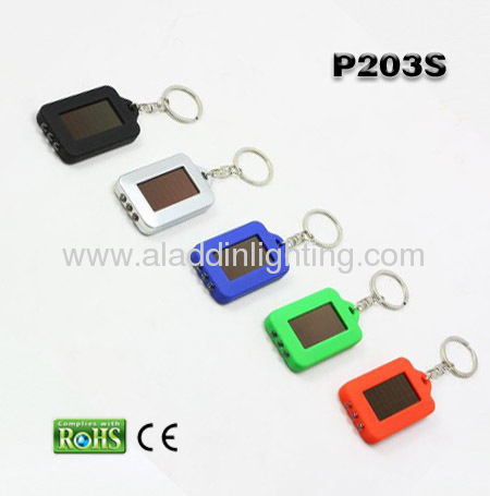 Promotional solar LED keychain flashlight