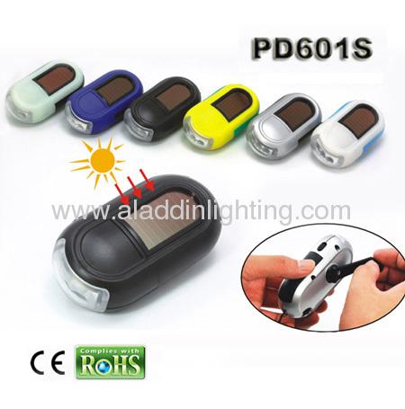 Solar powered LED hand cranking dynamo flashlight