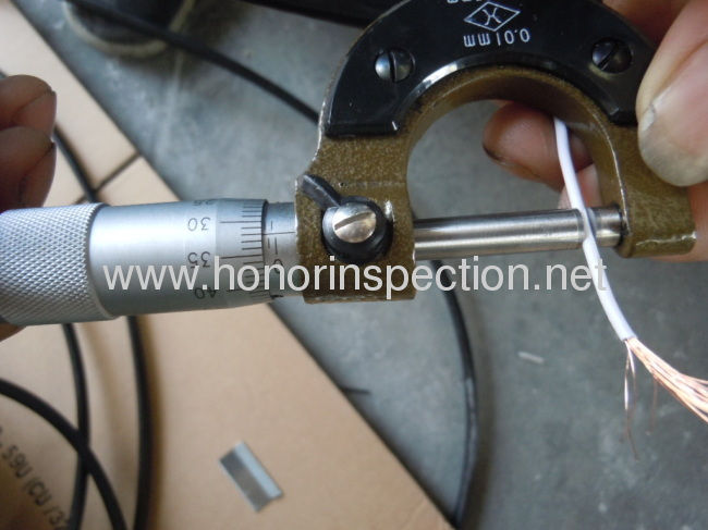 Coaxial RG6U cable dimension inspection