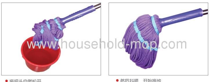Microfiber Iron Pole Magic Twist Cleaning Mop