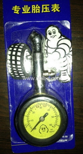 Michelin type dial air tire gauge with rubber casing and pressing button