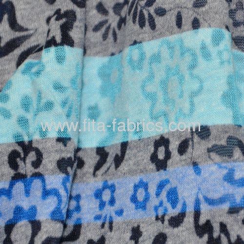 T/C burn out knitted fabric with printing