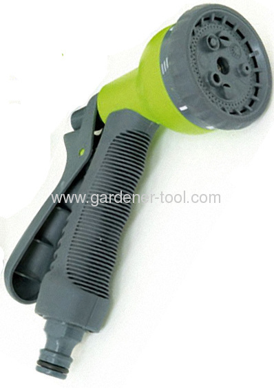 Advanced Plastic 8-function hose nozzle with non-slip hand