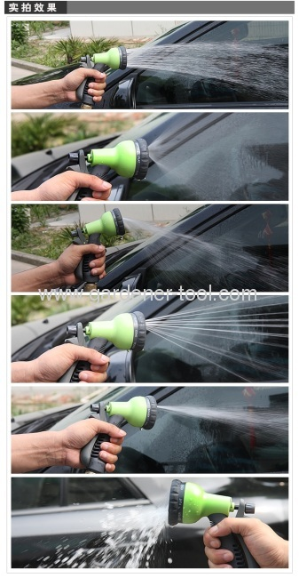 Advanced Plastic 8-function hose nozzle with non-slip hand