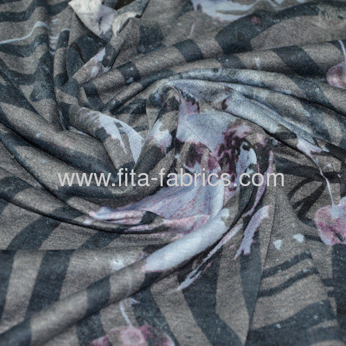 CVC Polyester and cotton print knitted fabric