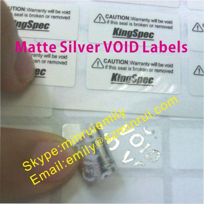 Custom Silver PET Vinyl VOID Labels,Matte Silver Warranty Labels
