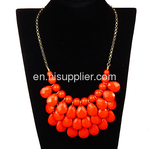 Short Gold Chain Red Teardrop Beaded Statement Collar Necklace Wholesale