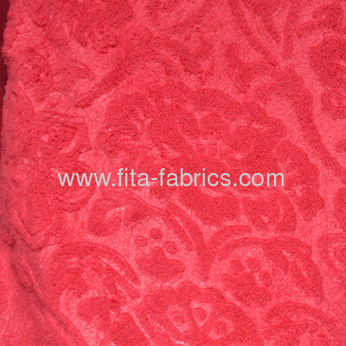 floretprinted embossedcoral fleece fabric