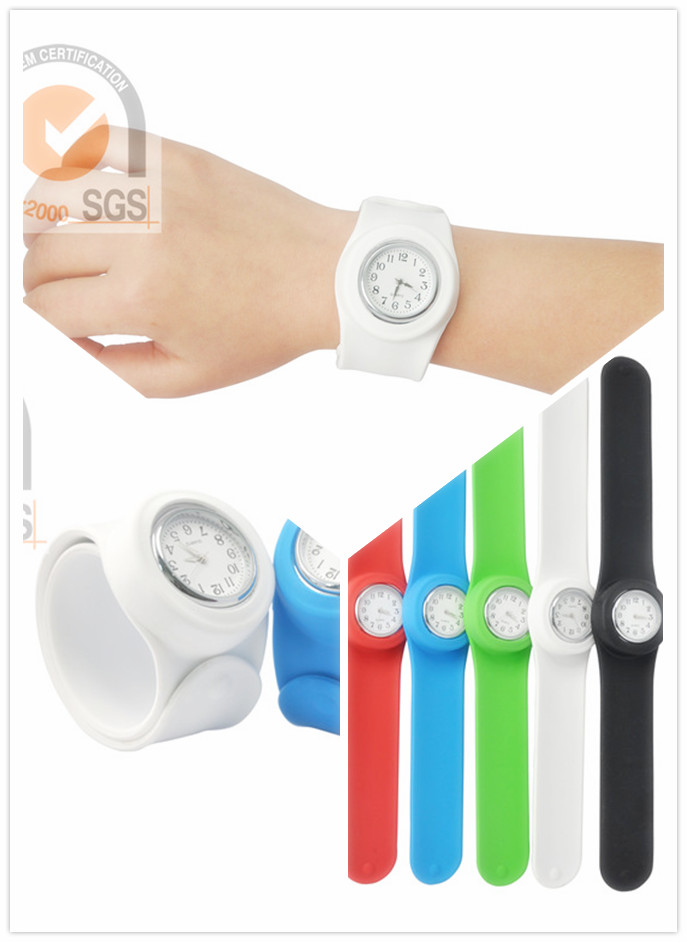 Fashional Colorful Silicone Slap Watch in Mixed Color