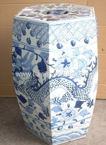 blue and white ceramic stool