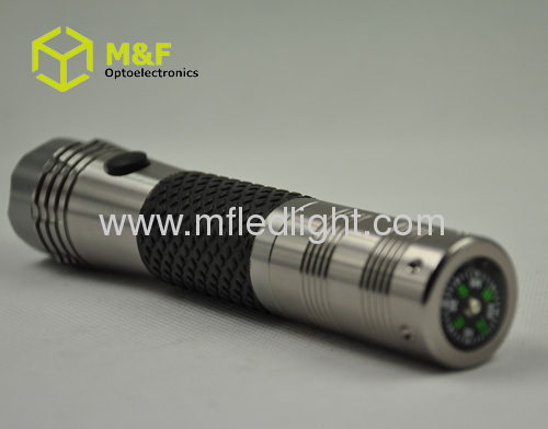 strong power 1w White LED rechargeable led flashlight torch with compass