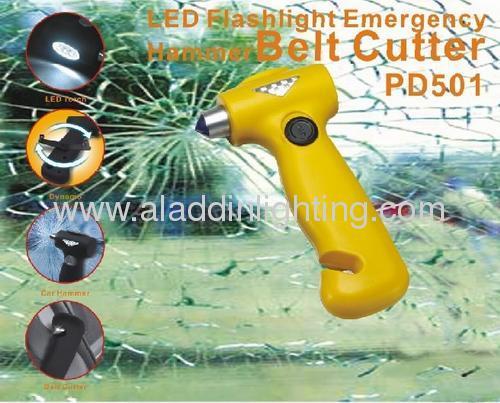 Dynamo Power Emergency Auto Safety Hammer with 3 LED flashlight