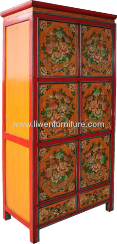 Tibetan Ppainting antique armoire
