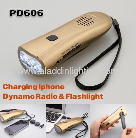 Crank dynamo powered FM radio torch for smart phone