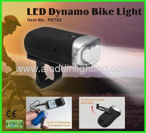 Dynamo powered LED bike light