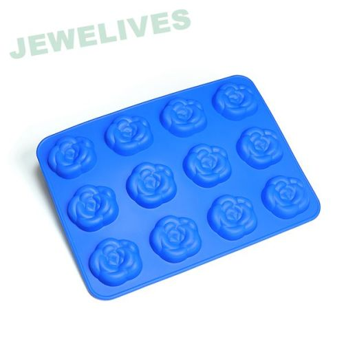 High class Silicone Rose Ice cube Mold in blue Sytle