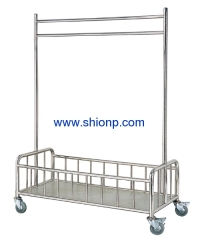 Movable stainless steel chothes hanger cart