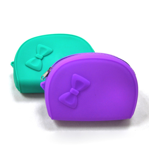Silicone Coin Bage with Zipper & Bowstie