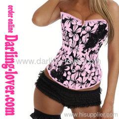 Pink Flower Print Sexy Corset