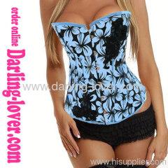 Sexy Blue Flower Print Corset