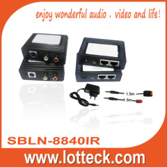 150m/480p S-Video+L/R Audio+IR extender over lan cable Cat5/