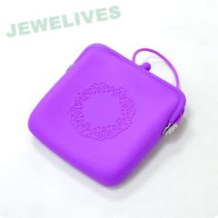Exculsive silicone cosmtic bag in brigh purple color