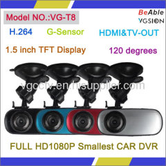 H.264 HD1080P Smallest G-Sensor CAR DVR with 1.5 inch LCD Display