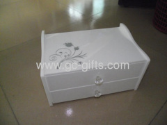 White custom acrylic makeup drawer cases