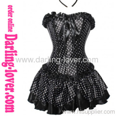 Sexy Dot Black Corset Matching Dress
