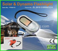 Dynamo solar powered 2 in 1 3 LED Solar Flashlight