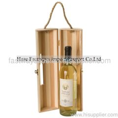 nature wooden wine box with a rope handle
