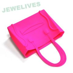 Pop selling Rubber square hand bag with smile face