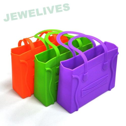 Colorful Rubber Shopping bags with embossed smile face