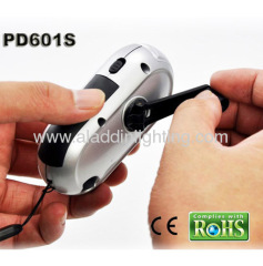 Solar powered LED hand cranking dynamo flashlight