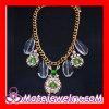 Wholesale Fashion Jewelry Glass Stone Crystal Rhinestone Flower Bib Necklace