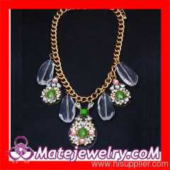 Crystal Rhinestone Flower Bib Necklace